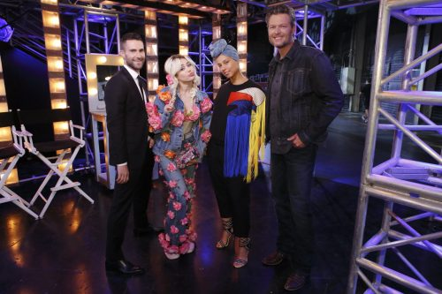 """THE VOICE -- """"Blind Auditions"""" -- Pictured: (l-r) Adam Levine, Miley Cyrus, Alicia Keys, Blake Shelton -- (Photo by: Trae Patton/NBC)"""