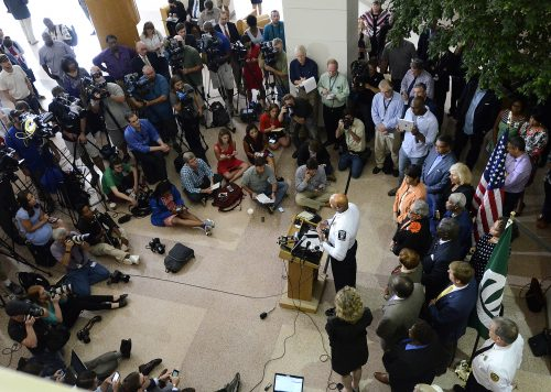 A horde of local and national media attended a news conference after a second night of violent protests, at Charlotte-Mecklenburg Police Department headquarters on Thursday, Sept. 22, 2016, in Charlotte, N.C. (John D. Simmons/Charlotte Observer/TNS)