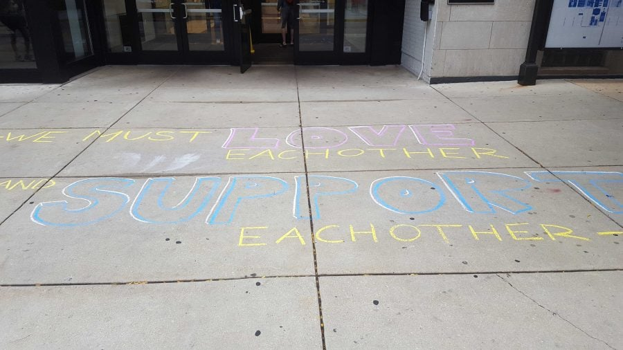 Reaffirmation messages were seen around the Lincoln Park campus. Jackson Dambeck/The DePaulia