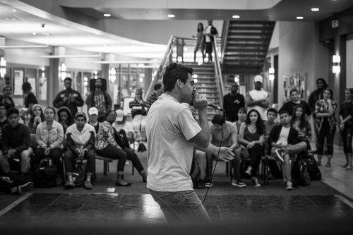 Chicago rapper Ricky performs in front of a crowd at one of CHIDirect's events held in the Student Center.