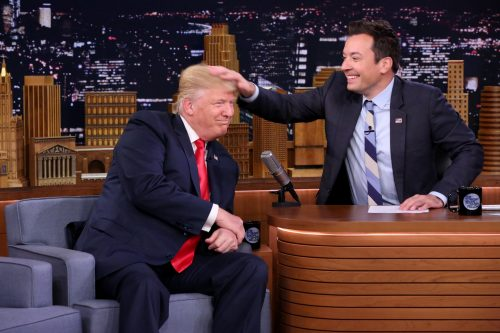 Republican presidential nominee Donald Trump appeared on The Tonight Show with Jimmy Fallon in September. (Chris Pizzello/AP)