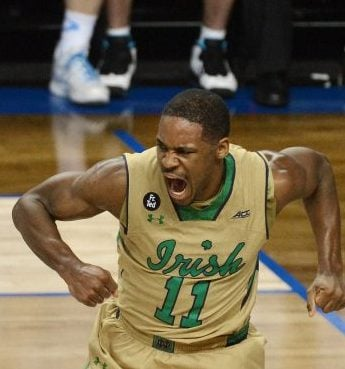 Notre Dame's Demetrius Jackson (11) reacts after a first-half dunk against North Carolina on Saturday, March 14, 2015, during the championship game of the ACC Tournament at the Greensboro Coliseum in Greensboro, N.C. (Chuck Liddy/Raleigh News & Observer/TNS)