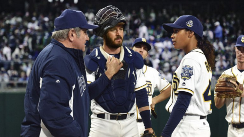 """Pitch"" tells the story of a young pitcher on the San Diego Padres, who becomes the first woman to play in the MLB. (Photo courtesy of FOX STUDIOS)"
