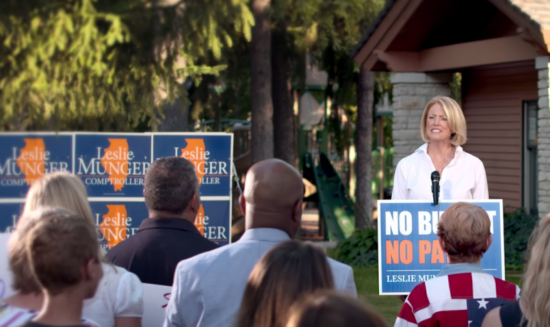 """Illinois Comptroller Leslie Munger appears in her first campaign ad, where she touts her """"No budget, no pay"""" proposal. (Leslie Munger/Youtube)"""