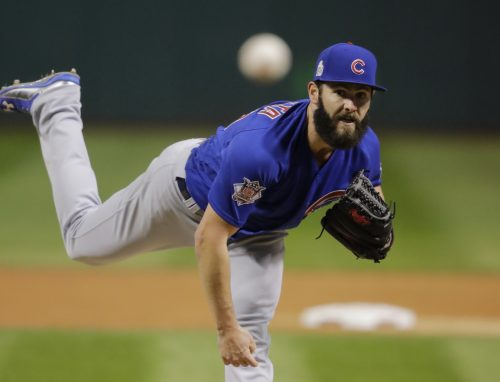 Chicago Cubs starting pitcher Jake Arrieta throws during the first inning of Game 2 of the Major League Baseball World Series against the Cleveland Indians Wednesday, Oct. 26, 2016, in Cleveland. (AP Photo/Gene J. Puskar)