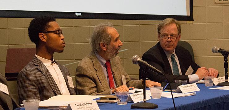 Left to right: Black Student Union president Mario Morrow, University of Chicago professor Gerald Rosenberg and senior journalist in residence at DePaul Chris Bury discuss free speech on college campuses. (Danielle Harris/The DePaulia)
