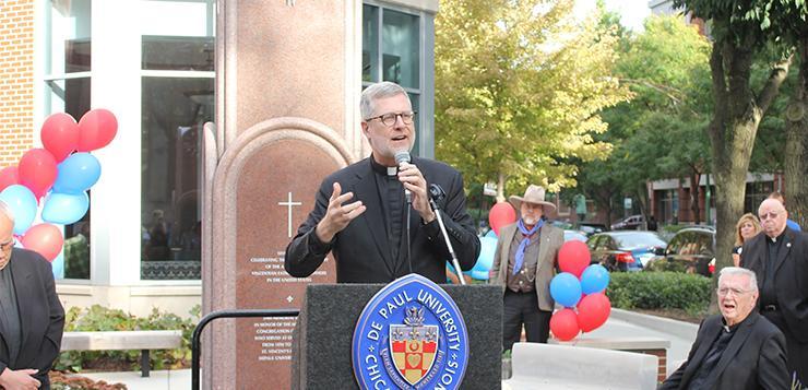 DePaul dedicates memorial outside Arts & Letters