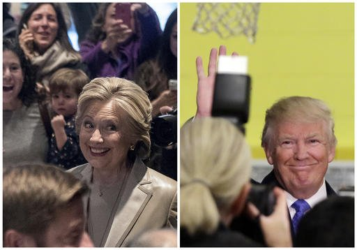 In this photo combination, Democratic presidential candidate Hillary Clinton greets supporters after voting in Chappaqua, N.Y., and Republican presidential candidate Donald Trump waves after voting in New York, Tuesday, Nov. 8, 2016. (AP Photo/Andrew Harnik, Richard Drew)