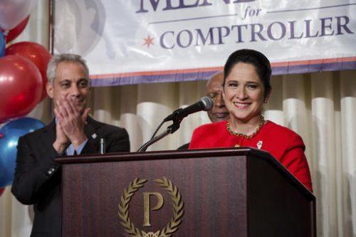 Susana Mendoza celebrates her Illinois Comptroller victory with Mayor Rahm Emanuel and Secretary of State Jesse White in Chicago on Tuesday, Nov. 8, 2016. (Santiago Covarrubias/Sun-Times Media via AP)