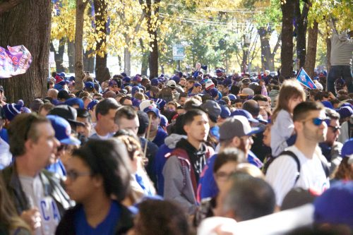 Cubs fans celebrate in Grant Park's North Rose Garden during the Nov. 4 victory parade. (Josh Leff / The DePaulia)