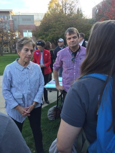 Reps. Mike Quigley (right) and Jan Schakowsky talk with students at a get out the vote rally on campus. (Brenden Moore/The DePaulia)
