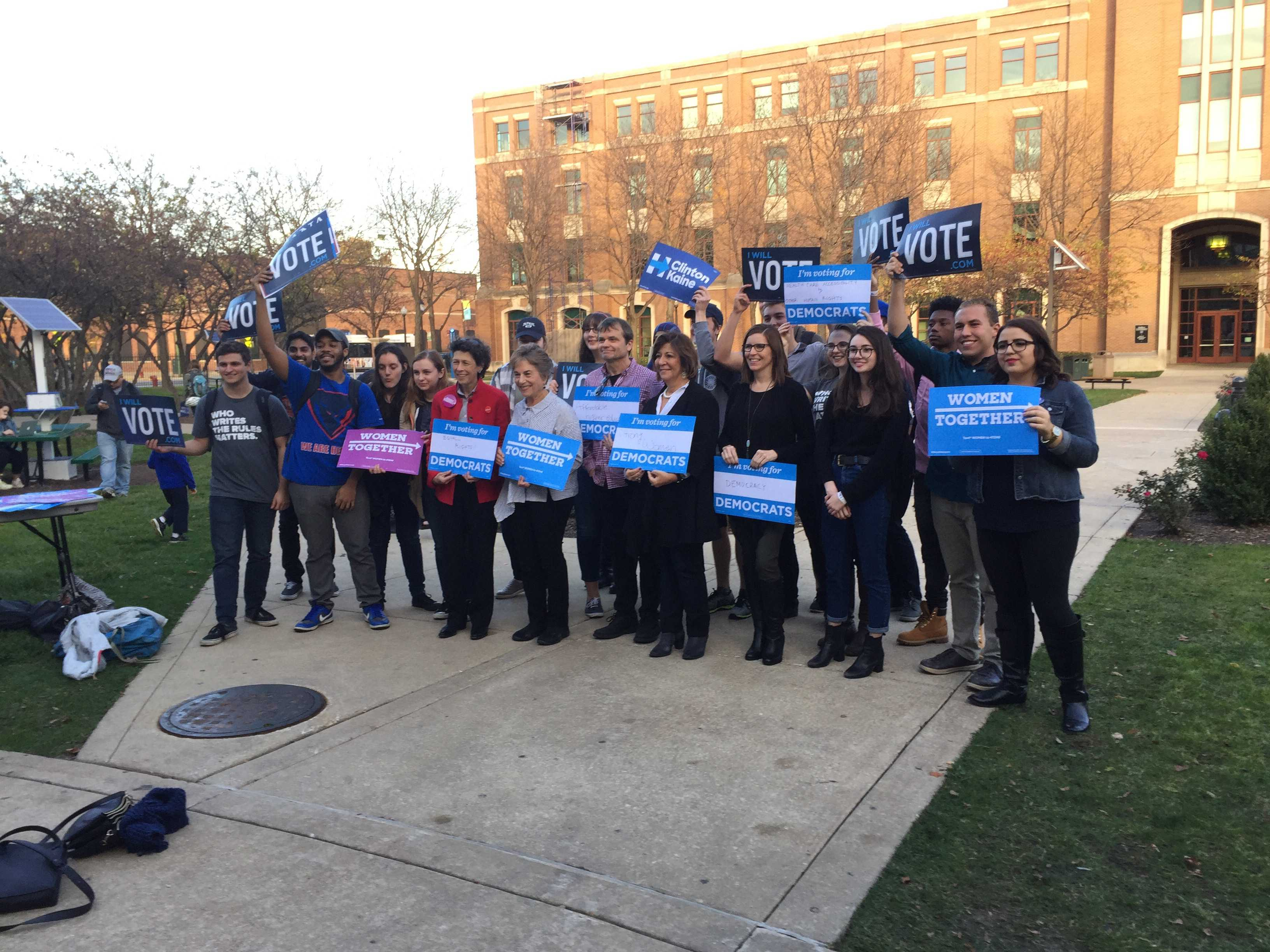 Elected officials representing DePaul and surrounding areas join students for a get out the vote rally on the Lincoln Park campus. (Brenden Moore/The DePaulia)