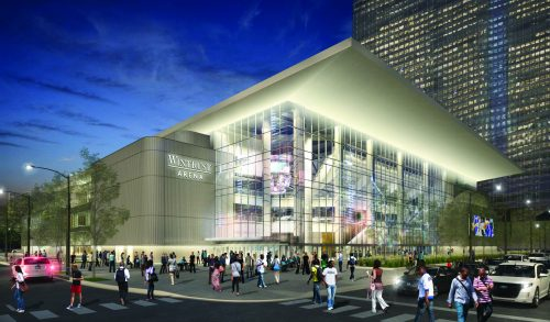 A rendering of Wintrust Arena from the southwest, showing what the name will look like. (Photo courtesy of DePaul Athletics)