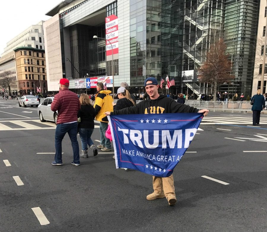 Eric+Sullivan%2C+a+student+at+the+University+of+Connecticut%2C+proudly+displays+his+pro-Trump+flag.+%28Brenden+Moore%2FThe+DePaulia%29+