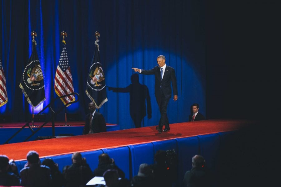 President Obama gives his farewell speech from McCormick Place, warning Americans not to take democracy for granted. (Josh Leff/The DePaulia)