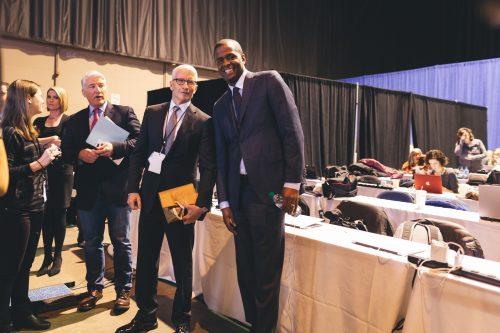 CNN's John King, Anderson Cooper and Bakari Sellers in the press pen. (Josh Leff/The DePaulia)