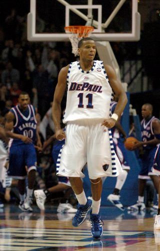 DePaul's Sammy Mejia (11) reacts after tying the game in the second half as the Blue Demons defeated Kansas 64-57 at the Allstate Arena in Rosemont, Illinois, Saturday, December 2, 2006. (John Konstantaras/Chicago Tribune/MCT)