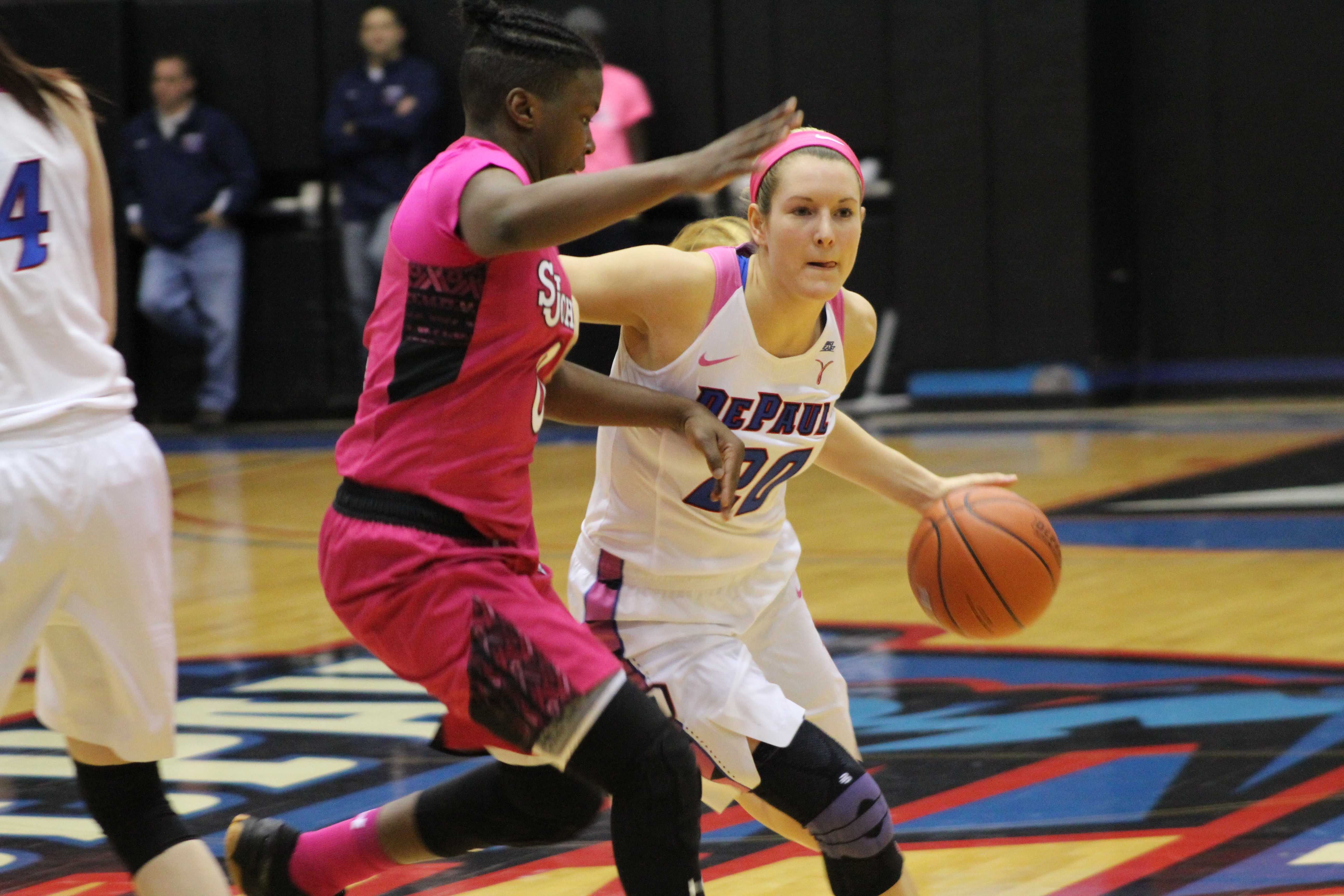Kelly Campbell drives the ball in the lane in Friday night's matchup against St. Johns (CAROLINE STACEY | THE DEPAULIA)