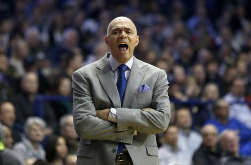 DePaul head coach Dave Leitao yells at his team during the first half of an NCAA college basketball game against Villanova, Monday, Feb. 13, 2017, in Rosemont, Ill. (AP Photo/Charles Rex Arbogast)