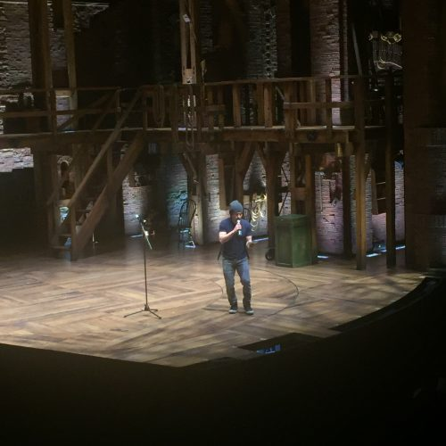 """""""Hamilton"""" actor and lead Miguel Cervantes hosted the student performances. Over 12 students performed on the """"Hamilton"""" stage."""