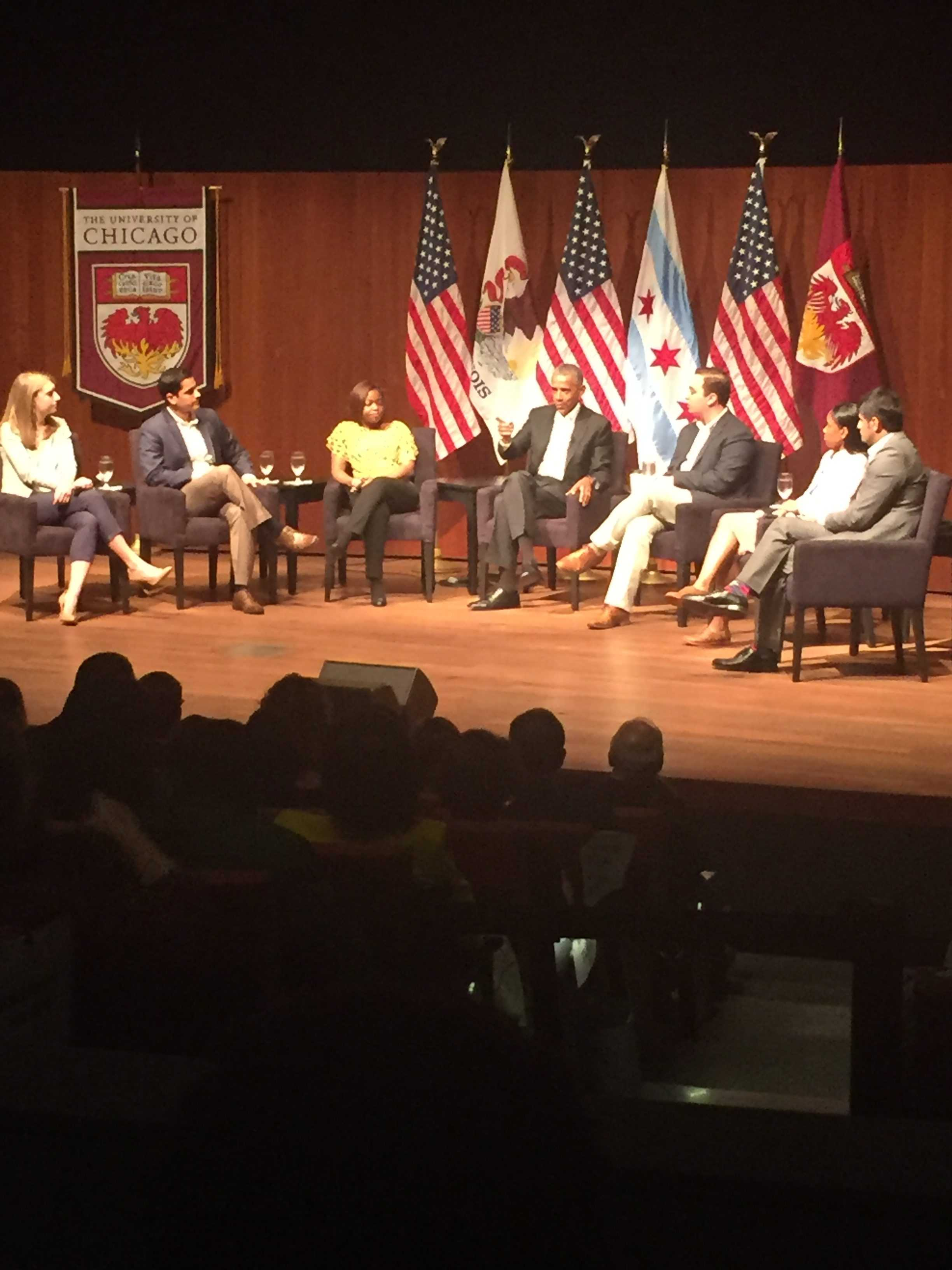 President Obama sits with six students, graduates from Chicago schools Monday for a roundtable discussion on community service and engagement. Rachel Hinton | The DePaulia