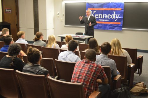 That said, the photo caption should read: Gubernatorial candidate Chris Kennedy speaks to a crowd of nearly 60 members of the DePaul community about his plans to reform Illinois. (Jack McNeil / DePaul College Democrats)