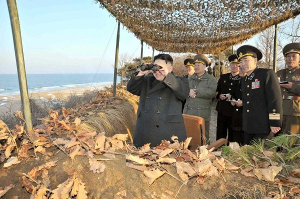 Chairman of the Workers' Party of Korea and leader of Democratic People's Republic of Korea, Kim Jong Un inspects the landing and anti-landing drills of the Korean People's Army Large Combined Units 324 and 287 and Navy Combined Unit 597 at a private location on one of North Korea's coasts. (Getty Images/AFP)