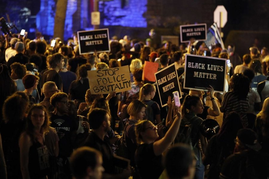 Protesters gather Friday Sept. 15 in St. Louis after a judge found a white former St. Louis police officer, Jason Stockley, not guilty of first-degree murder in the death of a black man, Anthony Lamar Smith, who was fatally shot following in a high-speed chase in 2011. (Jeff Roberson, AP)