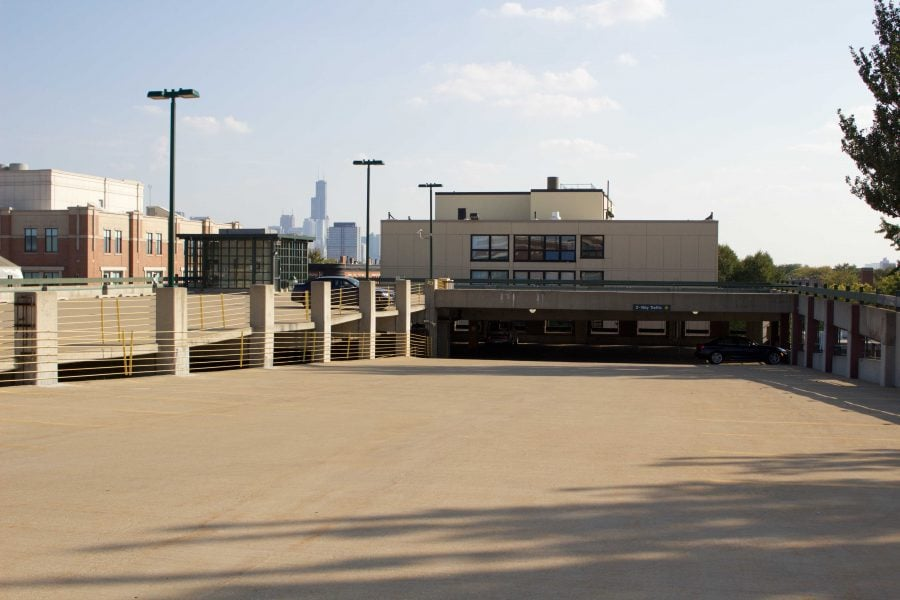 The empty upper deck of the Clifton parking garage which is now open to residents. (Benjamin Conboy/ The DePaulia)