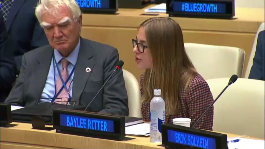 DePaul junior Baylee Ritter spoke at the United Nations on Wednesday as a representative of the World Oceans Day Youth Advisory Council. (Photo courtesy of Baylee Ritter)