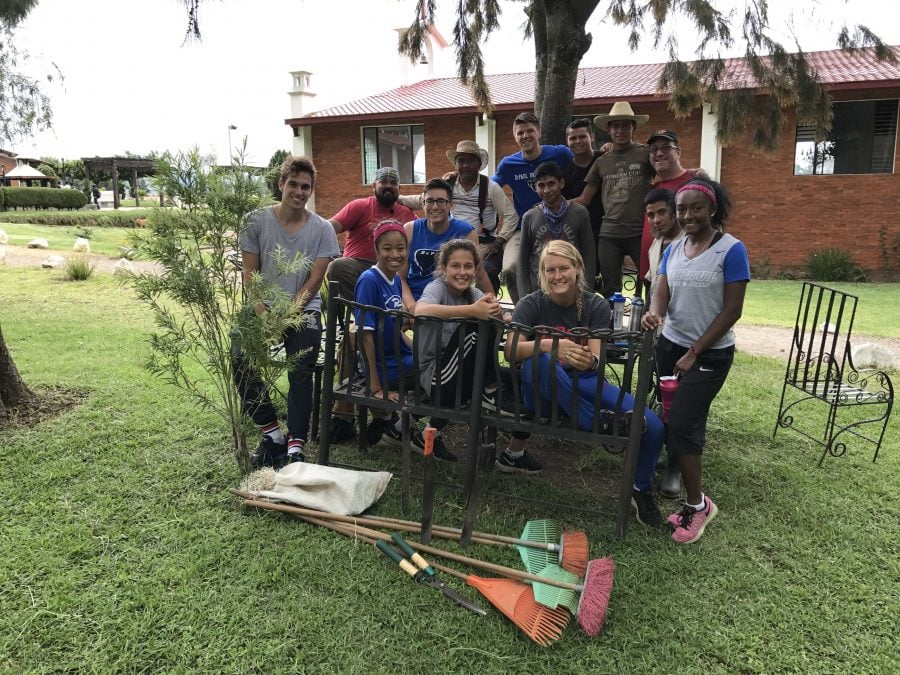 Nine DePaul student atheletes worked to complete landscaping projects with Nuestros Pequeños Hermanos. (Photo courtesey of robert sakamoto)