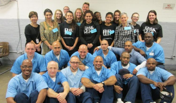 Professor Laura Biagi with her theater class at Stateville Correctional Center, where inmates study alongside DePaul students.  (photo courtesy of Illinois Department of Corrections)