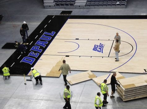 DePaul's home court installed at Wintrust Arena
