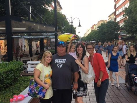 Women's tennis coach Mark Ardizzone meets former players Gergana Ganeva, Dunja Antunovic and Beatrix Csordas in Bulgaria.  (Photo courtesy of Mark Ardizzone)