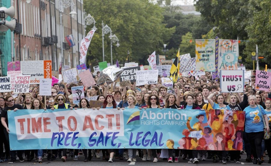 Demonstrators participate at The March for Choice event in Dublin, Ireland, calling for a change to Ireland's strict abortion laws Saturday Sept. 30, 2017.  (Tom Honan/AP)