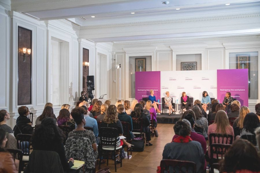 Panelists from the Cultivating Confidence series speak to a crowd of women about barriers and challenges in the workplace and how to overcome them. Left to right: Heidi Stevens, Gerri Kahnweiler, Elinor Steele, Iliana Mora and Joyce Roche. (Photo courtesy of Cultivating Confidence)