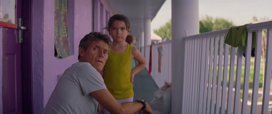 """Budget motel manager Bobby (Willem Dafoe) and resident Moonee (Brooklynn Prince) in Sean Baker's """"The Florida Project."""" The film opened in theaters on Oct. 6. (Photo courtesy of A24)"""