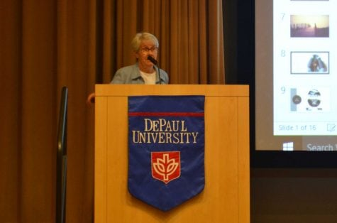 Sr. Judy Warmbold, D.C., speaks about the work the DePaul Dax Program is doing. (Benjamin Conboy/The DePaulia)
