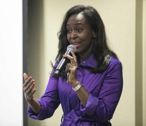 Ilibagiza addressed a crowd of about 50 and gave a first-hand account of the Rwandan genocide. (Sarah Julien/The DePaulia)