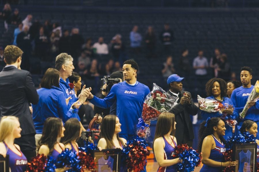 Billy Garrett Jr. was honored by fans before his final game at Allstate Arena.  (Photo courtesy to DePaul Athletics)