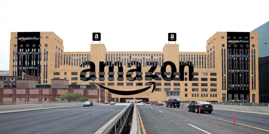 A visualization of what the Amazon headquarters could look like if they moved into the Old Chicago Main Post Office.  (Photo courtesy of The Chicago Sun-Times)