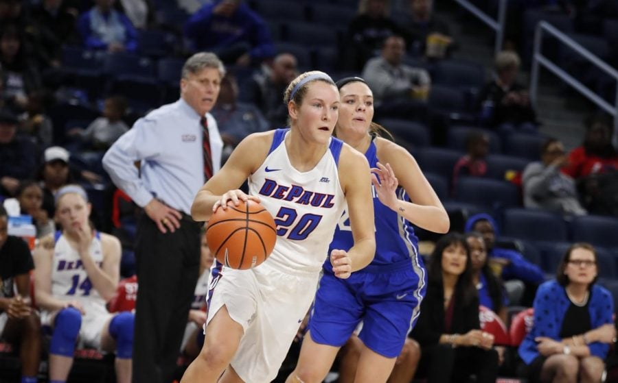 Kelly Campbell finished with 11 points and 11 rebounds in the win over Georgetown.(Photo Courtesy of DePaul Athletics)