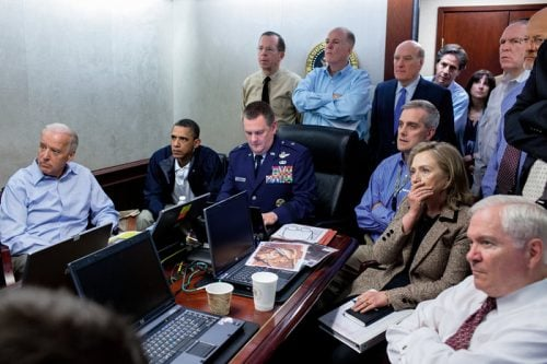 Souza captures Obama and his cabinet intensely watching the bin Laden raid carry out.