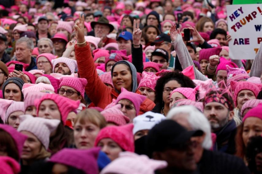 Marchers+wearing+their+pussyhats.+%28Photo+courtesy+of+Tribune+Service%29++