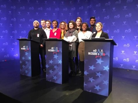 Students were at NBC Tower the whole day of the forum refining questions, ushering in guests and providing support.  (Photo courtesy of Don Mosely)