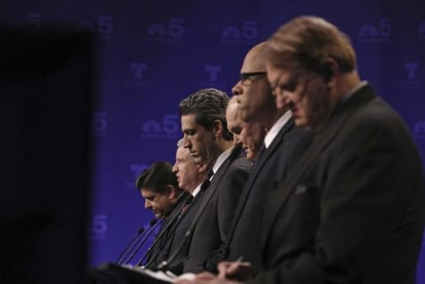 From left to right:  J.B. Pritzker, Chris Kennedy, state Sen. Daniel Biss, Bob Daiber, Tio Hardiman and Robert Marshall.  (Photo courtesy of the  Associated Press)
