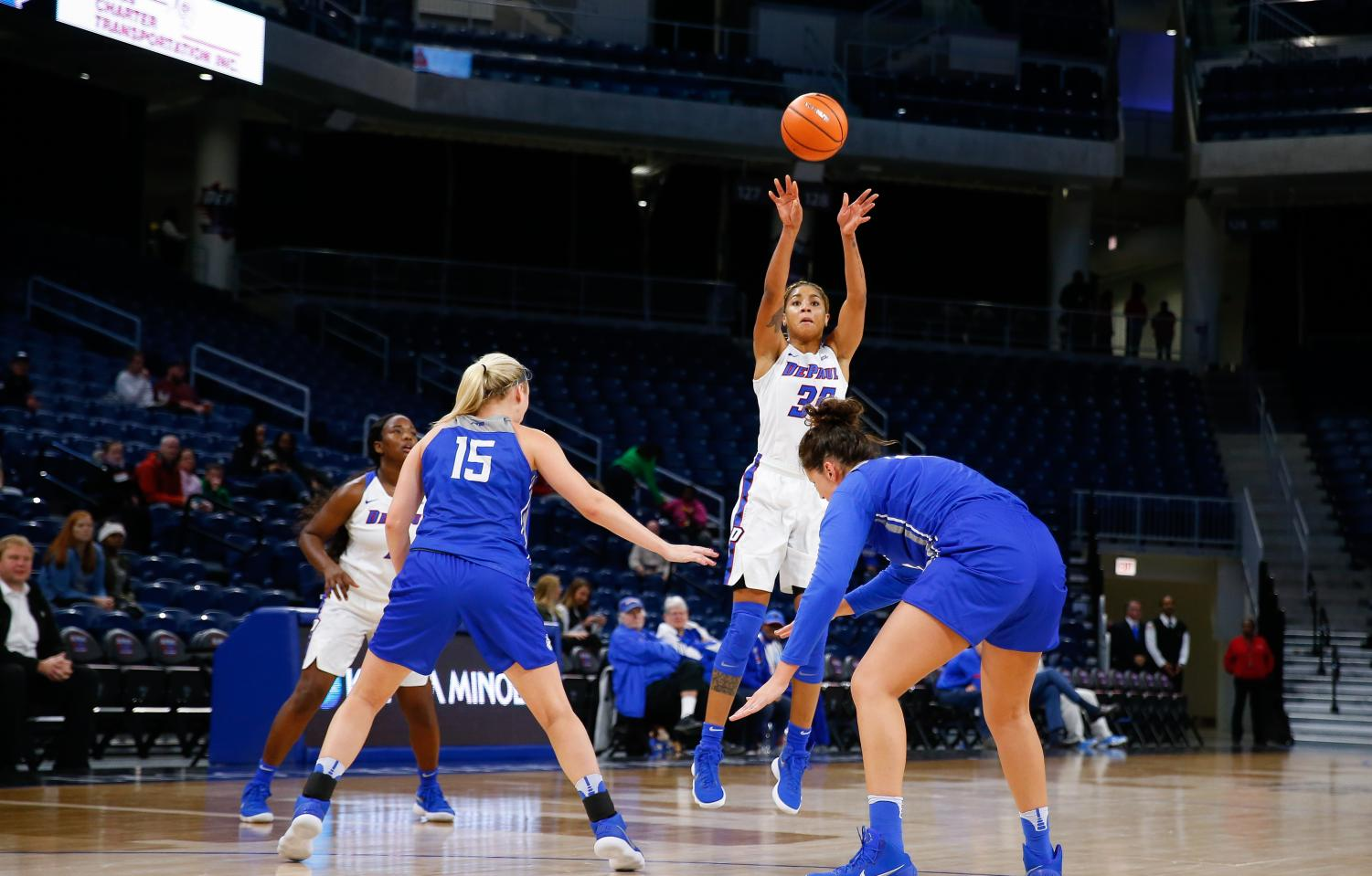 Junior forward Mart'e Grays collected her third career double-double with 21 points and 10 rebounds.   (Photo Courtesy of DePaul Athletics)