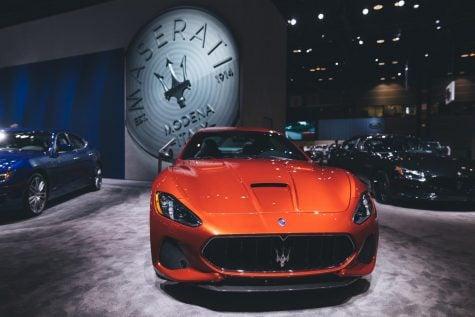 The Maserati showcase featuring the 2018 Maserati Granturismo.  (Photo courtesy of Josh Leff)