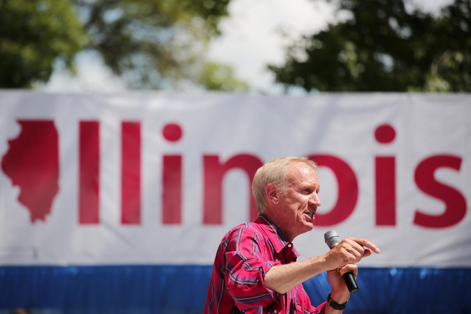 ov. Bruce Rauner delivered the annual budget address on Wednesday. Facing reelection, he proposed that the state no longer cover teacher pensions, instead shifting the burden to school districts. (Photo courtesy of Chicago Tribune)