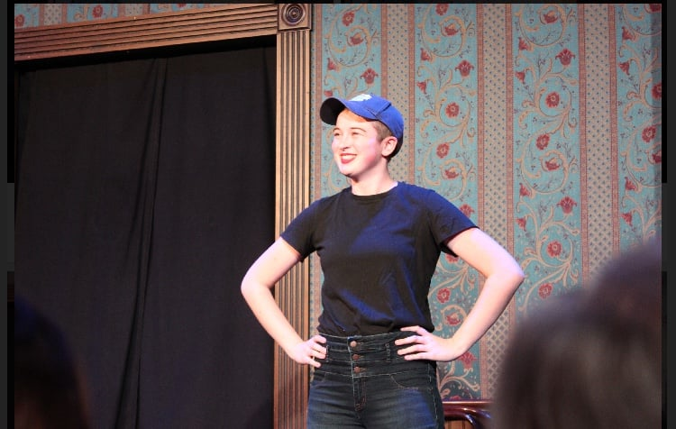 Performer Christian Borkey on stage during a performance. They are a part of DePaul Improv and Sketch Comedy (DISC) and the comedy group 2002 Chicago Bulls.  (Photo courtesy of Nathan Zimmerer)